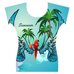 Summer Design With Cute Parrot And Palms Women s Cap Sleeve Top