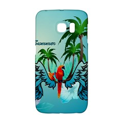 Summer Design With Cute Parrot And Palms Galaxy S6 Edge