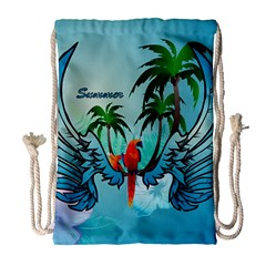 Summer Design With Cute Parrot And Palms Drawstring Bag (Large)