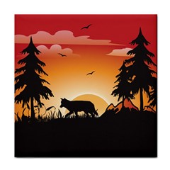 The Lonely Wolf In The Sunset Tile Coasters