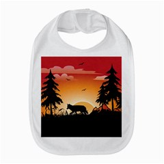 The Lonely Wolf In The Sunset Bib