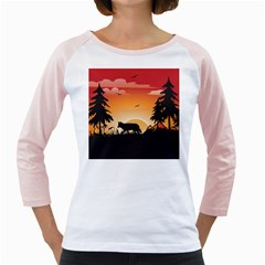 The Lonely Wolf In The Sunset Girly Raglans