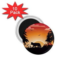 The Lonely Wolf In The Sunset 1.75  Magnets (10 pack)