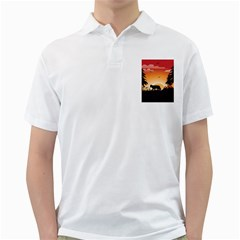 The Lonely Wolf In The Sunset Golf Shirts