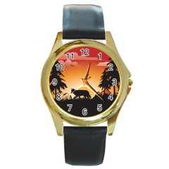 The Lonely Wolf In The Sunset Round Gold Metal Watches