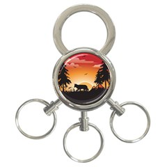 The Lonely Wolf In The Sunset 3-Ring Key Chains