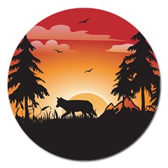 The Lonely Wolf In The Sunset Magnet 5  (Round)