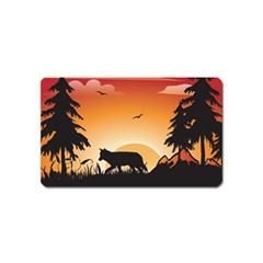 The Lonely Wolf In The Sunset Magnet (Name Card)