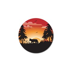 The Lonely Wolf In The Sunset Golf Ball Marker