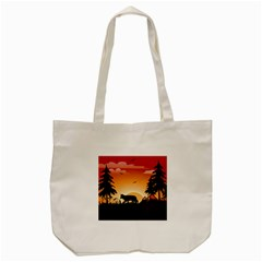 The Lonely Wolf In The Sunset Tote Bag (Cream)