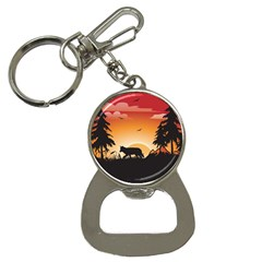 The Lonely Wolf In The Sunset Bottle Opener Key Chains