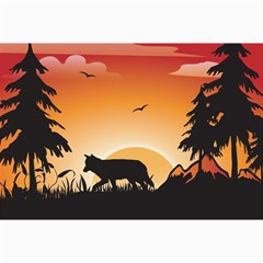 The Lonely Wolf In The Sunset Collage 12  x 18
