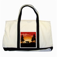 The Lonely Wolf In The Sunset Two Tone Tote Bag