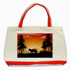 The Lonely Wolf In The Sunset Classic Tote Bag (Red)