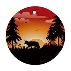 The Lonely Wolf In The Sunset Round Ornament (Two Sides)