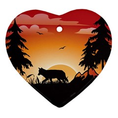The Lonely Wolf In The Sunset Heart Ornament (2 Sides)