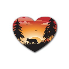 The Lonely Wolf In The Sunset Heart Coaster (4 Pack)