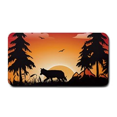 The Lonely Wolf In The Sunset Medium Bar Mats
