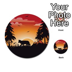 The Lonely Wolf In The Sunset Multi-purpose Cards (Round)