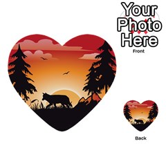 The Lonely Wolf In The Sunset Multi Purpose Cards (heart)