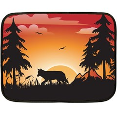 The Lonely Wolf In The Sunset Fleece Blanket (Mini)