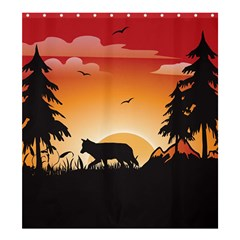 The Lonely Wolf In The Sunset Shower Curtain 66  X 72  (large)
