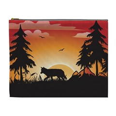 The Lonely Wolf In The Sunset Cosmetic Bag (XL)