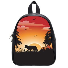 The Lonely Wolf In The Sunset School Bags (Small)