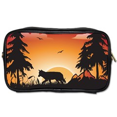 The Lonely Wolf In The Sunset Toiletries Bags 2-Side