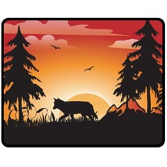 The Lonely Wolf In The Sunset Fleece Blanket (medium)
