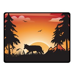 The Lonely Wolf In The Sunset Fleece Blanket (Small)