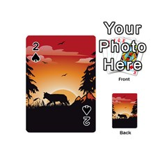 The Lonely Wolf In The Sunset Playing Cards 54 (mini)