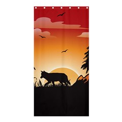 The Lonely Wolf In The Sunset Shower Curtain 36  X 72  (stall)