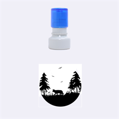 The Lonely Wolf In The Sunset Rubber Round Stamps (Small)