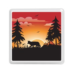 The Lonely Wolf In The Sunset Memory Card Reader (Square)