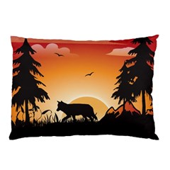 The Lonely Wolf In The Sunset Pillow Cases (two Sides)