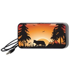The Lonely Wolf In The Sunset Portable Speaker (Black)
