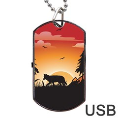 The Lonely Wolf In The Sunset Dog Tag USB Flash (One Side)