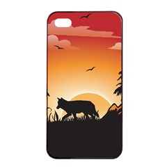 The Lonely Wolf In The Sunset Apple iPhone 4/4s Seamless Case (Black)