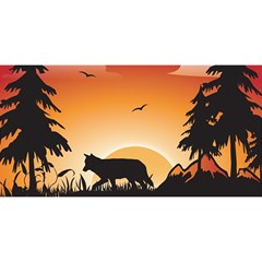 The Lonely Wolf In The Sunset YOU ARE INVITED 3D Greeting Card (8x4)