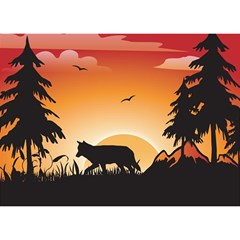 The Lonely Wolf In The Sunset Birthday Cake 3d Greeting Card (7x5)