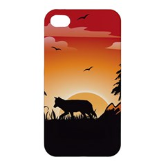 The Lonely Wolf In The Sunset Apple iPhone 4/4S Hardshell Case