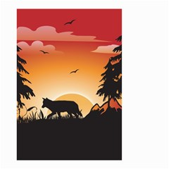 The Lonely Wolf In The Sunset Small Garden Flag (two Sides)