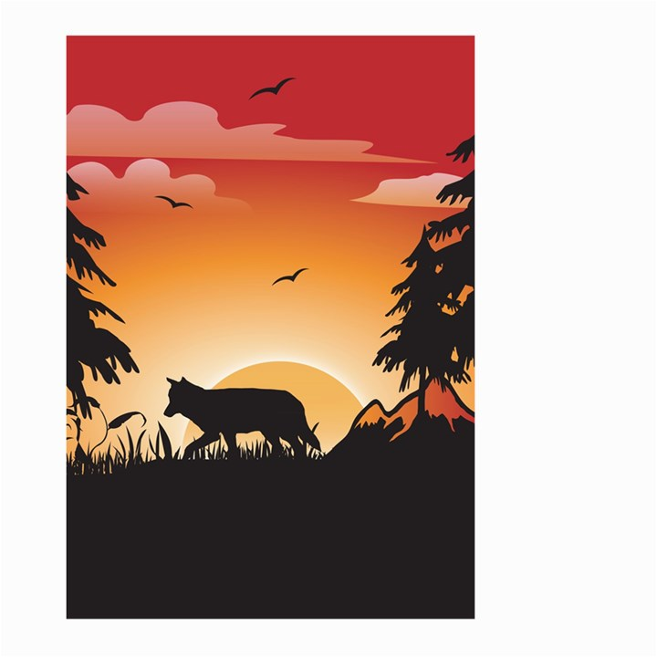 The Lonely Wolf In The Sunset Large Garden Flag (Two Sides)