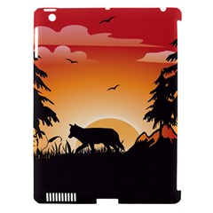 The Lonely Wolf In The Sunset Apple iPad 3/4 Hardshell Case (Compatible with Smart Cover)
