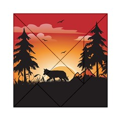 The Lonely Wolf In The Sunset Acrylic Tangram Puzzle (6  x 6 )