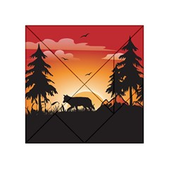 The Lonely Wolf In The Sunset Acrylic Tangram Puzzle (4  x 4 )