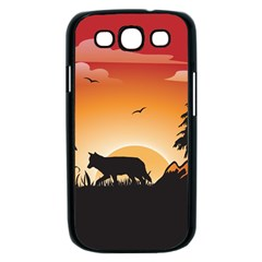 The Lonely Wolf In The Sunset Samsung Galaxy S III Case (Black)