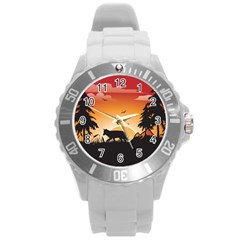 The Lonely Wolf In The Sunset Round Plastic Sport Watch (L)