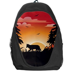 The Lonely Wolf In The Sunset Backpack Bag